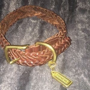Coach Vintage Leather Braided Dog Collar